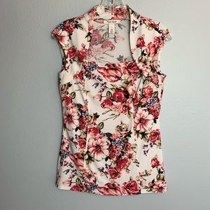 GORGEOUS WHBM FLORAL CAP SLEEVE BLOUSE SIZE SMALL